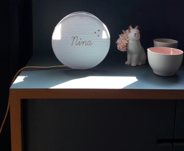 magasin luminaire lyon lampe sur mesure chambre enfant decoration tam tam double gaze coton blanche personnalisation nina paillete dore