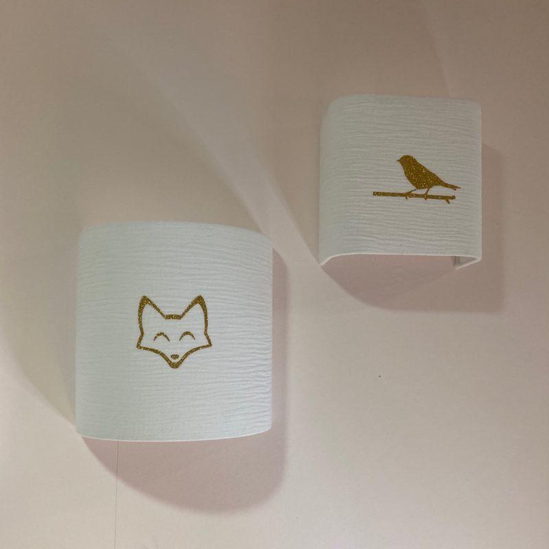magasin luminaire lyon applique murale decoration chambre enfant bebe double gaze coton renard paillete dore abat jour sur mesure