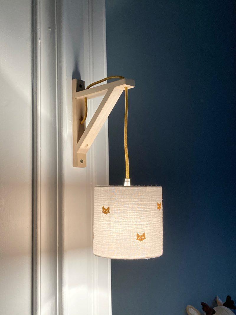 magasin luminaire lyon applique murale equerre decoration chambre enfant double gaze coton blanche mini renard paillete or