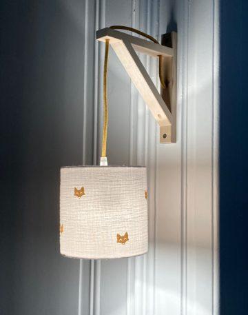 magasin luminaire lyon applique murale equerre double gaze coton renard paillete dore