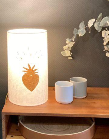 magasin luminaire lyon lampe totem abat jour double gaze coton coeur paillette personnalisation