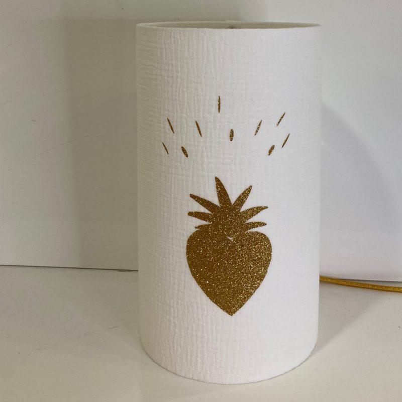 magasin luminaire lyon lampe totem abat jour sur mesure double gaze coton blanche coeur paillete or