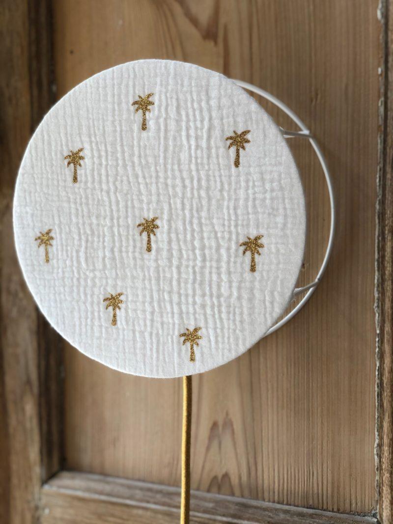 magasin luminaire lyon abat jour personnalisation sur mesure decoration chambre enfant double gaze coton blanche palmier glitter or