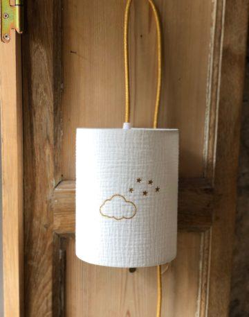 magasin luminaire lyon lampe baladeuse abat jour double gaze coton decoration chambre enfant chevet nuage pailleté doré