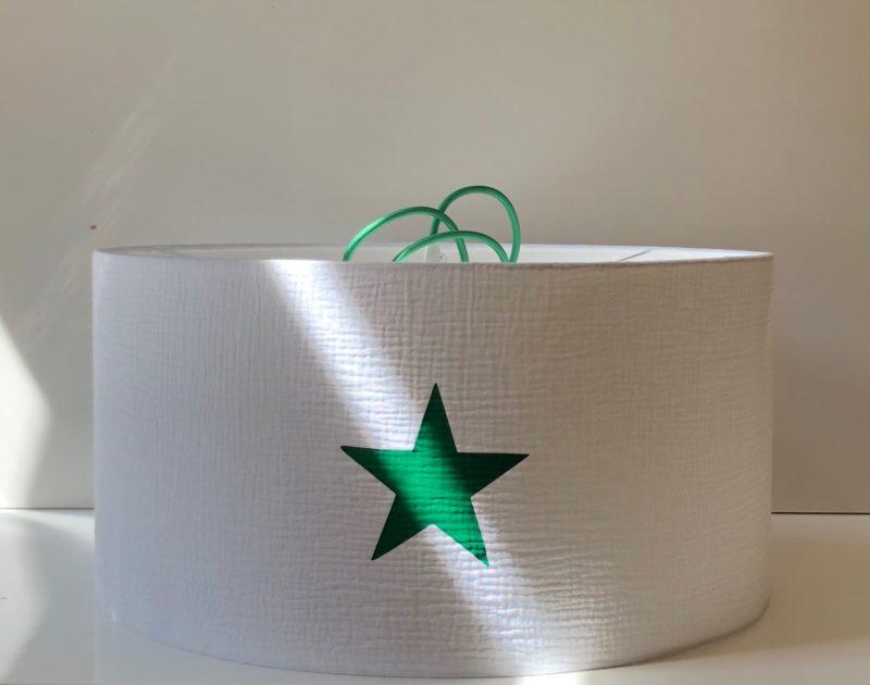 magasin luminaire lyon suspension abat jour double gaze blanche coton etoile chambre enfant decoration personnalisation