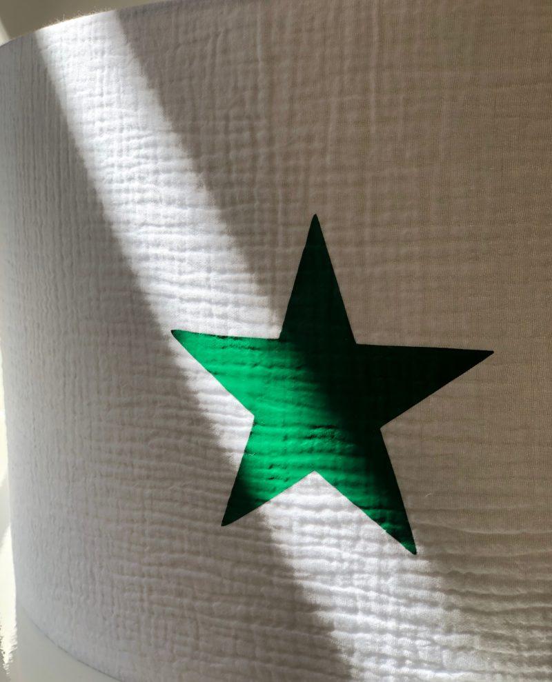 magasin luminaire lyon suspension abat jour double gaze coton etoile verte chambre enfant decoration sur mesure