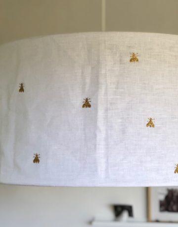 magasin luminaire lyon suspension lin souple decoration interieur style boheme blanc abeille pailletee doree