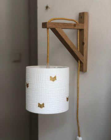 magasin luminaire lyon abat jour double gaze coton applique murale equerre renard deco chambre enfant lampe paillete