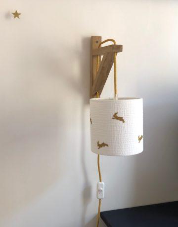 magasin luminaire lyon applique murale equerre abat jour sur mesure chambre enfant double gaze coton lapin glitter dore