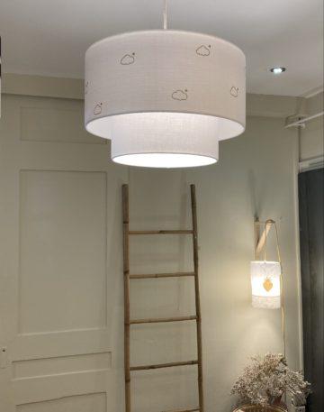 magasin luminaire lyon double suspension abat jour double gaze coton blanche nuage paillete dore decoration chambre bebe