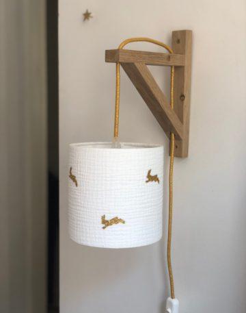 magasin luminaire lyon lampe decoration chambre enfant applique murale double gaze coton lapin paillete dore