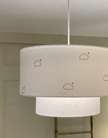 magasin luminaire lyon suspension abat jour double gaze coton nuage decoration chambre enfant