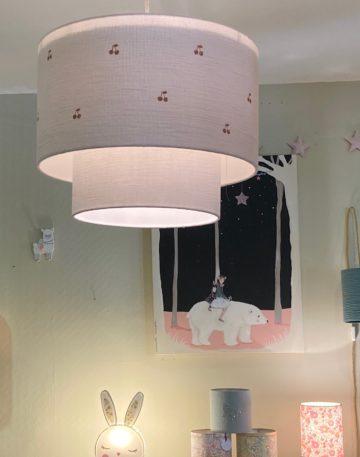 magasin luminaire lyon suspension double gaze coton cerise paillete abat jour surmesure rose nude